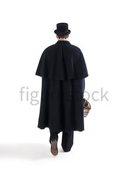 A Figurestock image of a Victorian man in a cloak, walking with bag and cane, from the behind - shot from eye level.