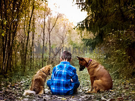 boy sitting in woods with his two dogs