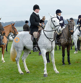 James Holliday, Hatty Coney, Sophie Pedlar at the meet at Highfield Farm