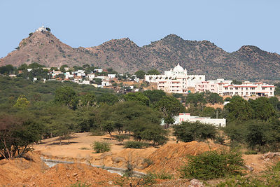 View of Pushkar from the road leading to Kharekhari, Rajasthan, India