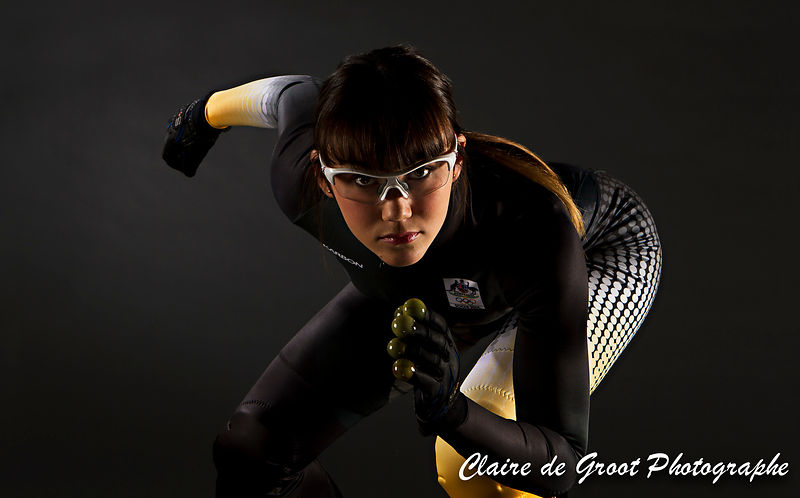 2. A very determined and focussed Australian Olympic speed skater Deanna Lockett.