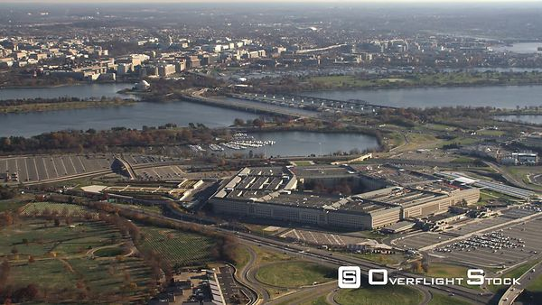 Wide View of the Pentagon and Surrounding Area, Washington DC Across Potomac River in Background.