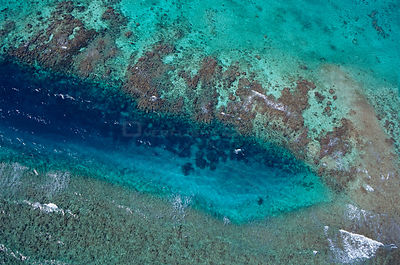 Aerial view of La Poza or the Tarpon Hole, Xkalac Reefs National Park, Caribbean Sea, Mesoamerican Reef System, Mexico, January