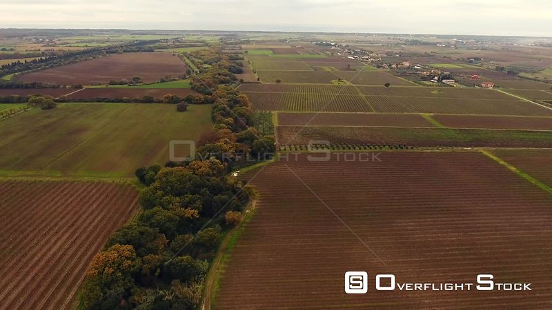 Aerial shot, huge vineyards with the autumn colors after the grape harvest in Tuscany, Italy, shot with drone