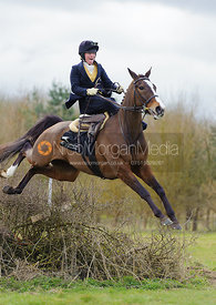 Lizzie Harris jumps the last hedge - Dianas of the Chase - Side Saddle Race 2014.