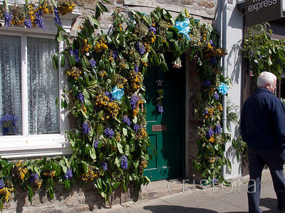 flowers decorate the town on Helston Flora Day