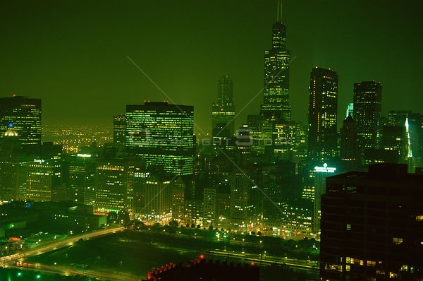 Chicago city at night, Illinois, USA