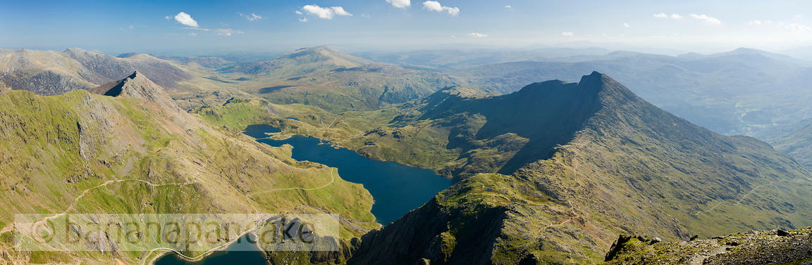 Panoramic view of 'The Snowdon Horseshoe' from the summit of Snowdon - BP2663