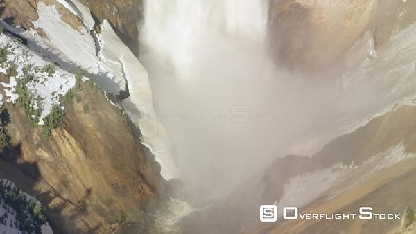 Dramatic shot of the lower falls of the Yellowstone River in Yellowstone National Park