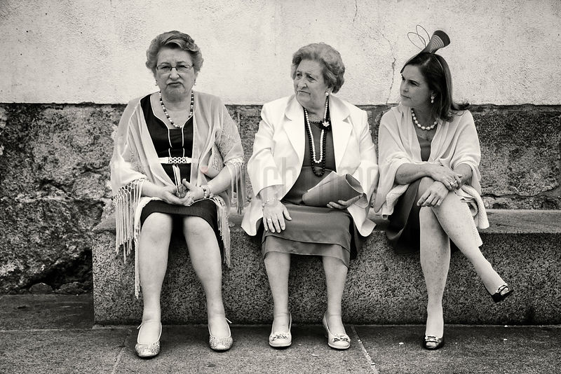 Women Sitting on Bench after Church