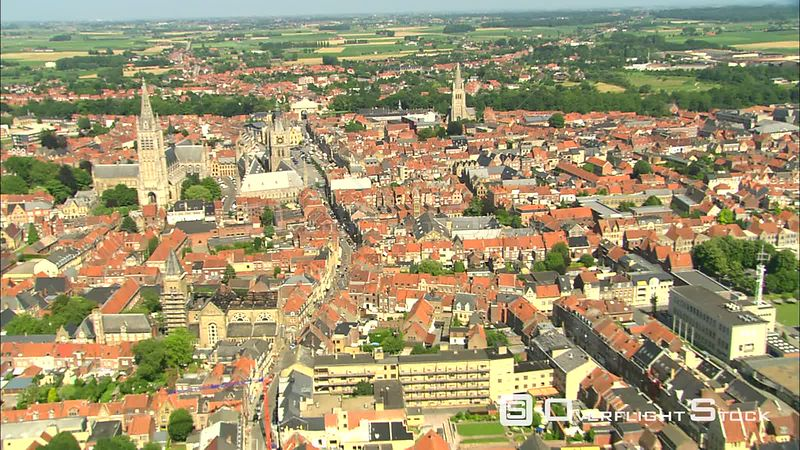 Flight over Ypres with Cloth Hall and Saint Martin's Cathedral in center frame