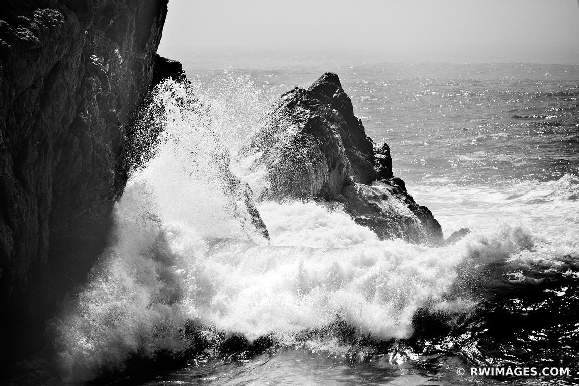 BIG SUR WAVES POUNDING THE ROCKY SHORE OF PARTINGTON COVE BIG SUR CALIFORNIA BLACK AND WHITE