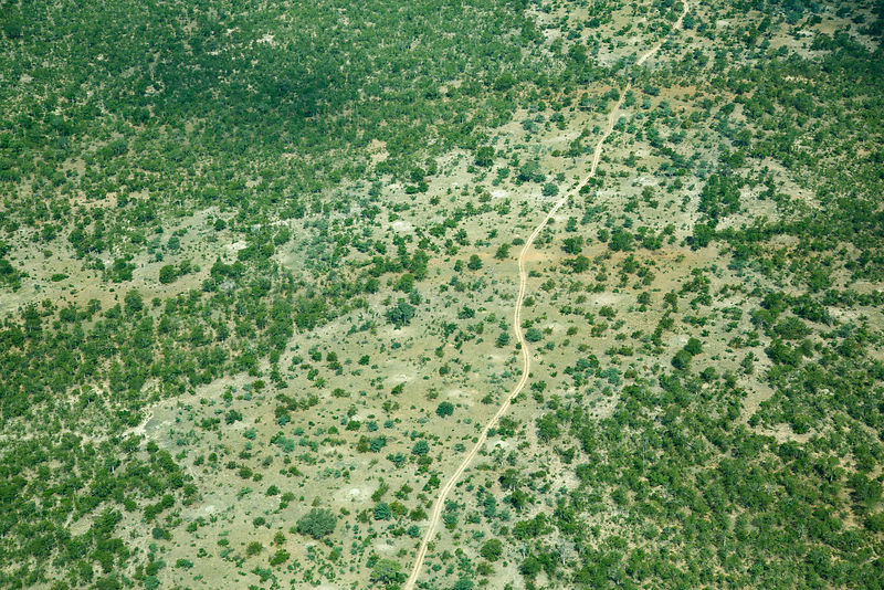 Aerial view of Kruger National Park, South Africa, April 2016.