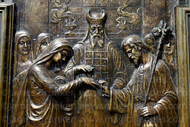 Detail of bronze relief on main entrance of cathedral, La Paz, Bolivia