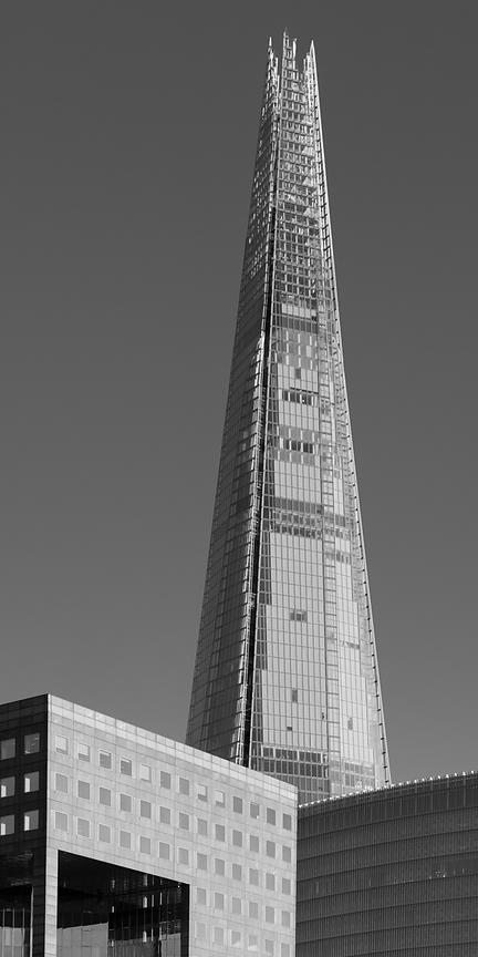 The Shard from the river black and white version