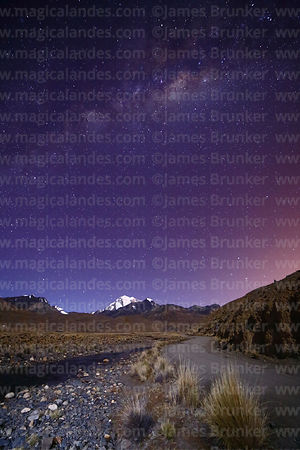 Milky Way Galactic Centre above altiplano, River Tuni and Mt Huayna Potosí, Cordillera Real, Bolivia