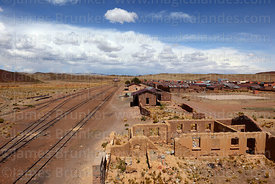 View over disused railway station and village, General Pando, La Paz Department, Bolivia