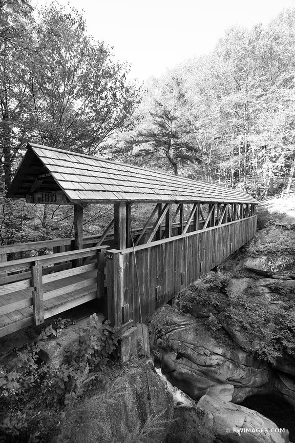 SENTINEL PINE BRIDGE FRANCONIA NOTCH WHITE MOUNTAINS NEW HAMPSHIRE BLACK AND WHITE VERTICAL