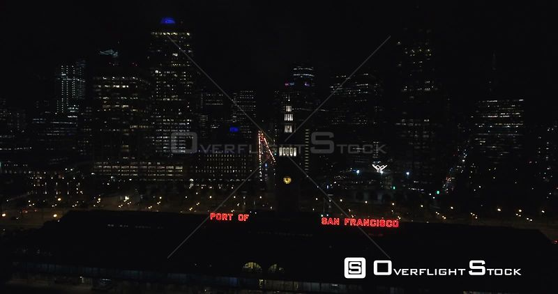 Night Drone Video Port of San Francisco and Financial District Downtown
