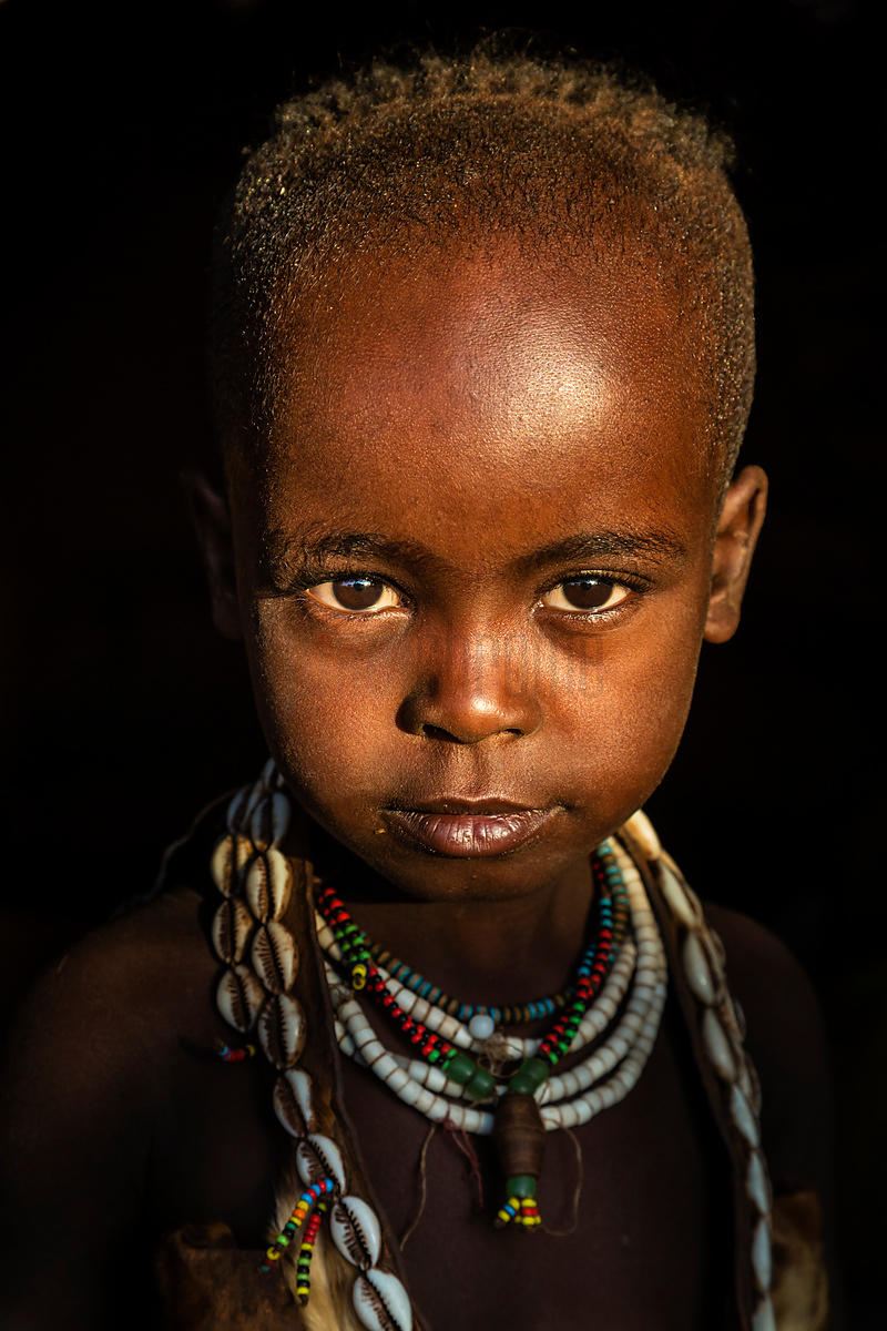 Portrait of a Young Girl from the Hamar Tribe