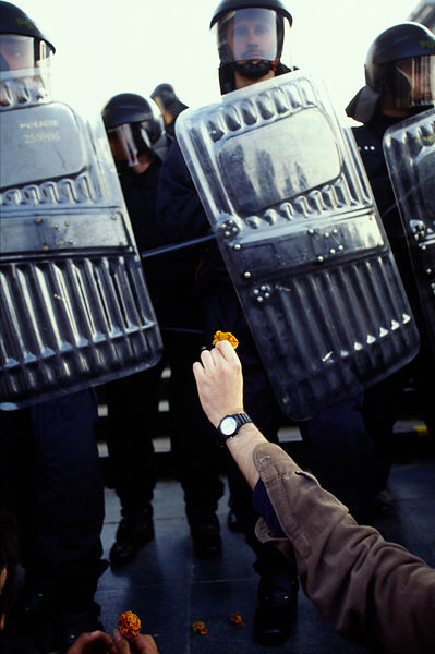 Czech Republic - Prague - A demonstrator offers a flower to riot police
