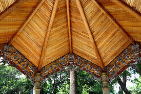 Detail of wooden ceiling of bandstand in main square, Tarija, Bolivia