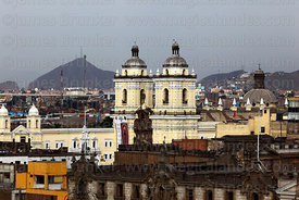 View of San Francisco church towers and roof of Archbishop's Palace, Lima, Peru