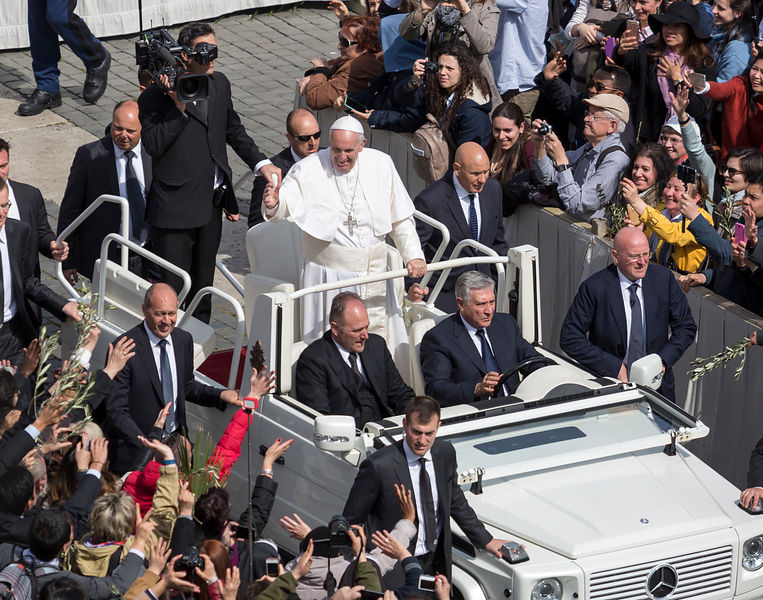Pope Francis leads the service for Palm Sunday at St. Peter's Square