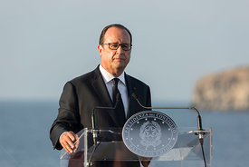 "Press conference in front of the Island of Ventotene held on board the Italian aircraft carrier ""Garibaldi."""