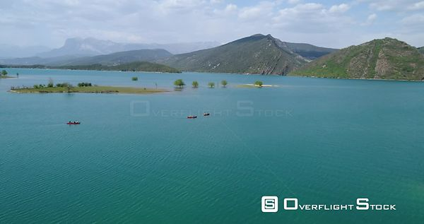 Canoeing on Embalse de Mediano Lake Spain