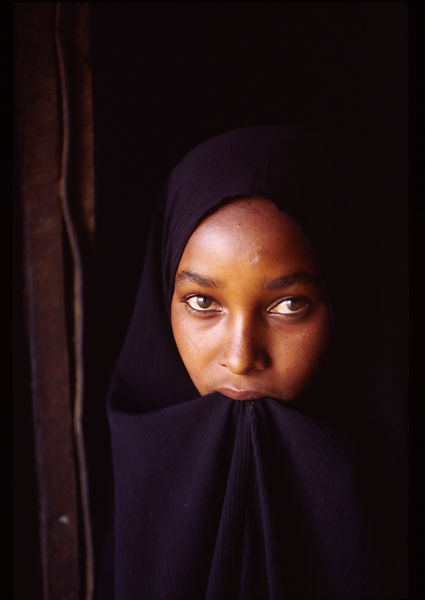 A Muslim Ethiopian child in a hijab