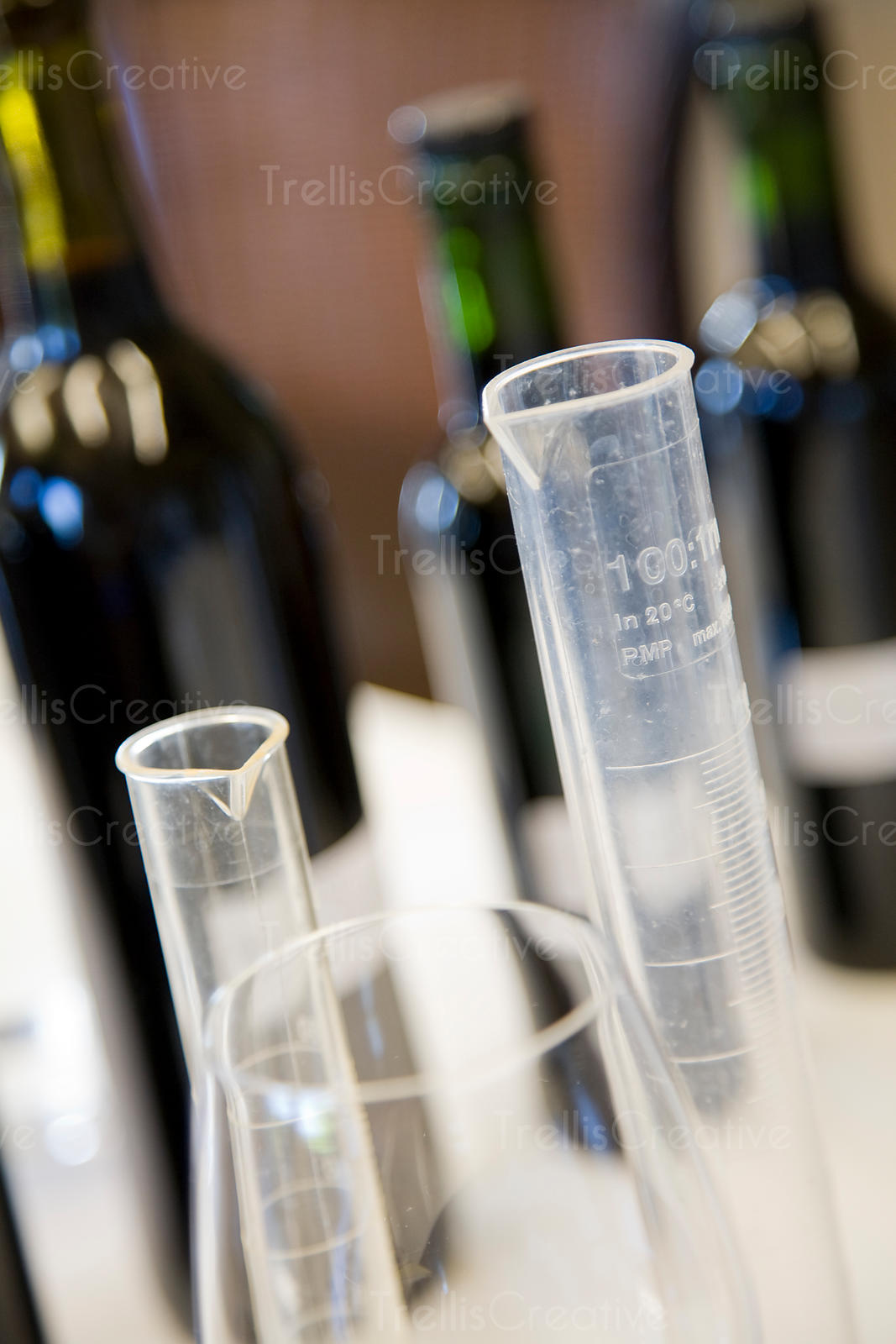 Measuring beakers for blending wine
