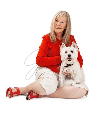 Senior Woman With West Highland Dog