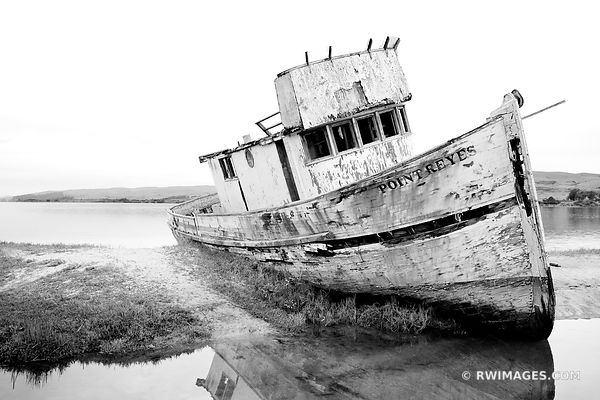 POINT REYES FISH BOAT WRECK TOMALES BAY POINT REYES NATIONAL SEASHORE CALIFORNIA BLACK AND WHITE