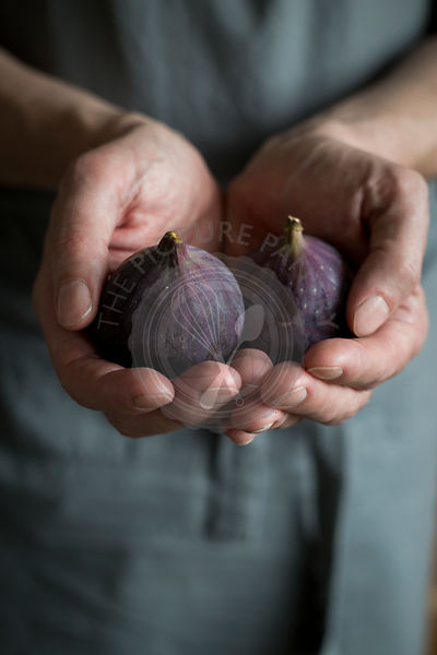 Close-up of man's hands holding figs