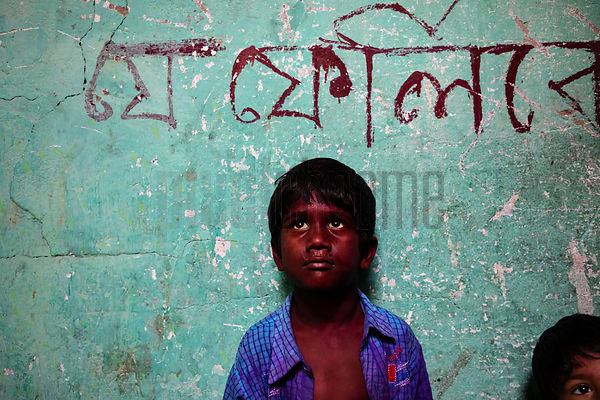 Portrait of a Young Boy's Face Stained by Holi Festival Powder (Gulal)