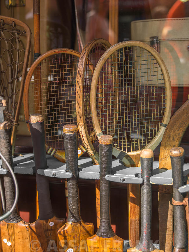 Tennis rackets in store