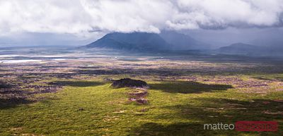 Aerial panoramic view of Elborg volcano, Iceland