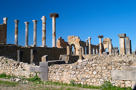 Looking towards the Basilica and the Capitol, Volubilis, Morocco; Landscape