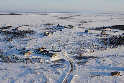 Aerial view of research station, Wapusk NP, Manitoba, Canada