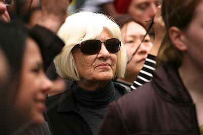 Woman in Dark Glasses and Blonde Hair