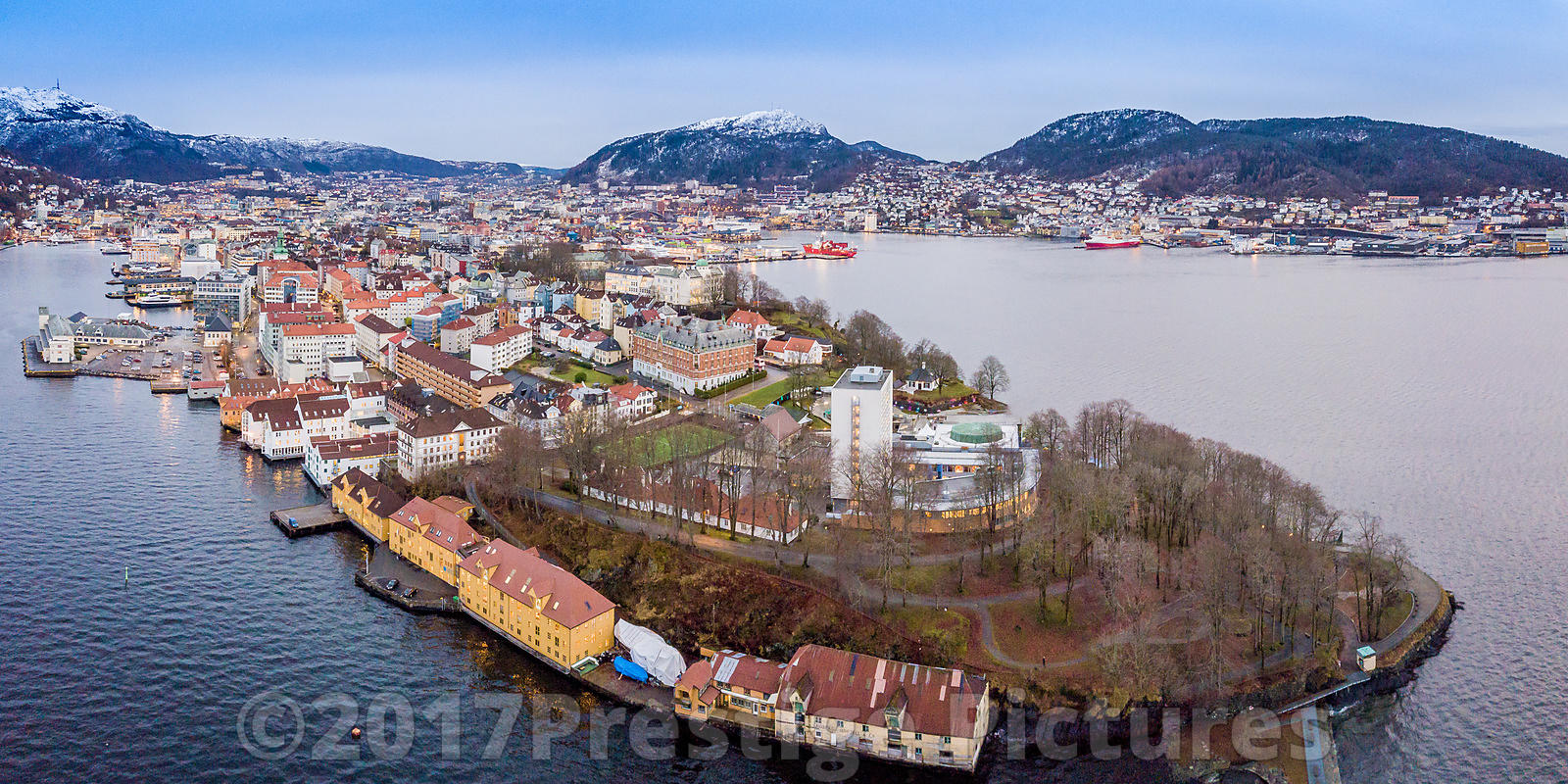 Aerial view of Nordnesparken in Bergen with Snow Capped Mountains