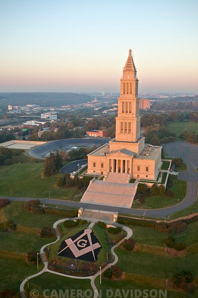 Aerial photograph of the Masonic Temple to George Washington in Alexandria, Virginia