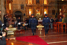 Members of the national guard carry caskets with remains of the members of the Junta Tuitiva to the altar before a mass in San Francisco church to commemorate the uprising of July 16th 1809, La Paz, Bolivia