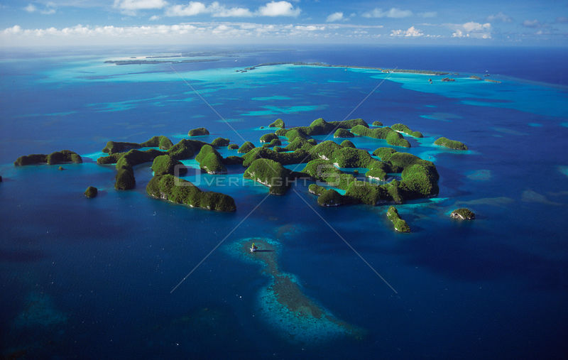 Aerial view of the Seventy Islands, Palau, Micronesia, pacific ocean