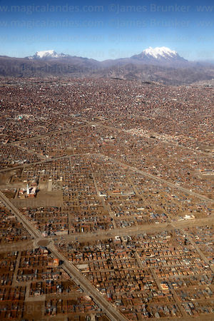 Aerial view of El Alto, Cordillera Real mountains in background, Bolivia