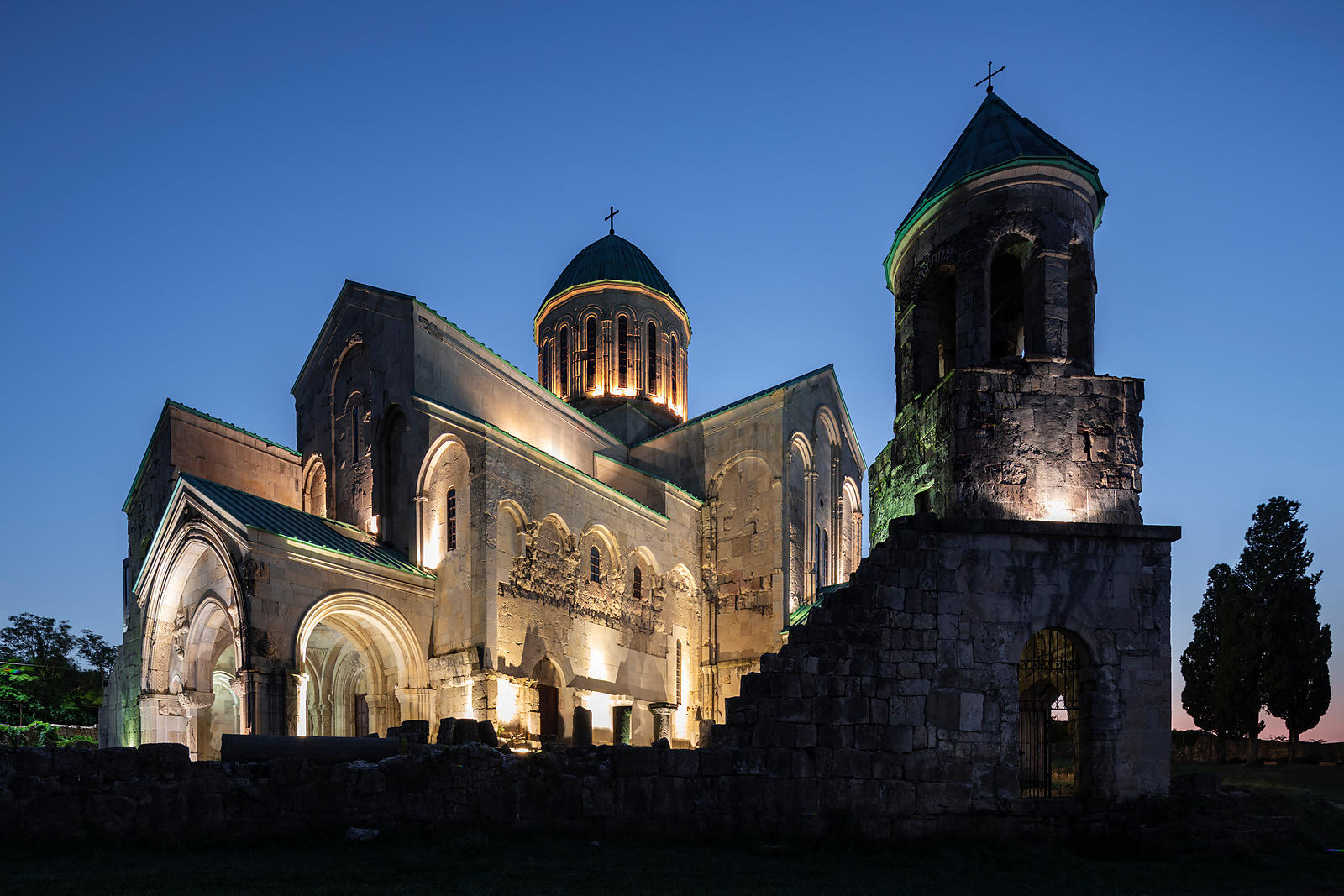 Bagrati Cathedral and Bell Tower at Night