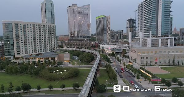 Drone Video Downtown Austin and Train. Texas USA