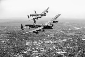 Two Lancasters over High Wycombe black and white version