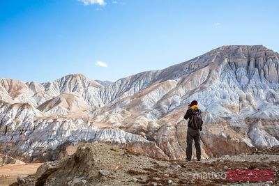 Hiker near Lo Manthang, Upper Mustang region, Nepal